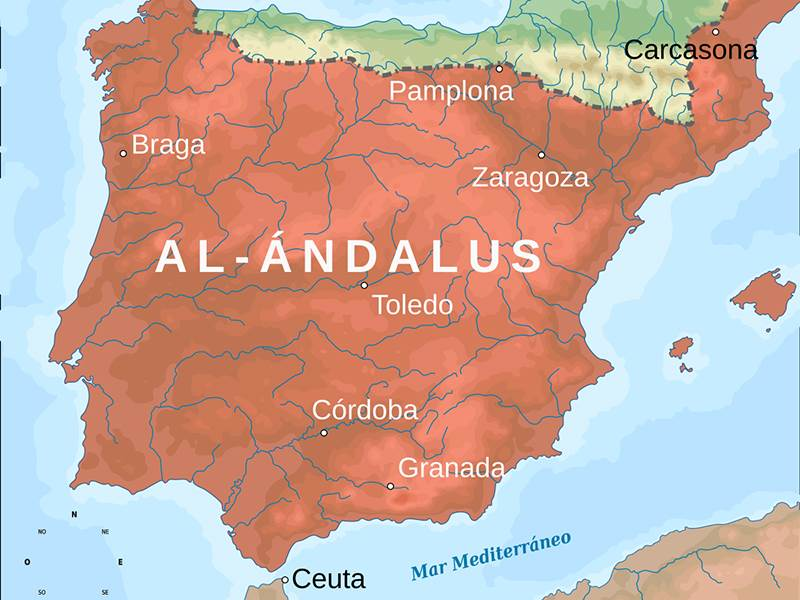 Greatest extent of al-Andalus