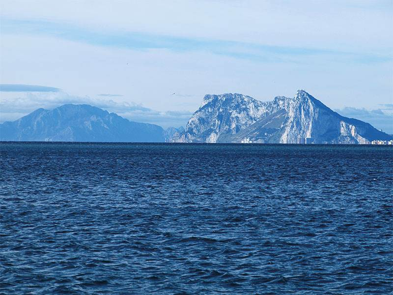 Pillars of Hercules from the east - Jebel Musa left Gibraltar right