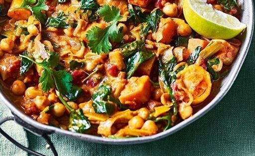 Sweet Potato, Mushroom, Chickpea and Spinach Coconut Curry